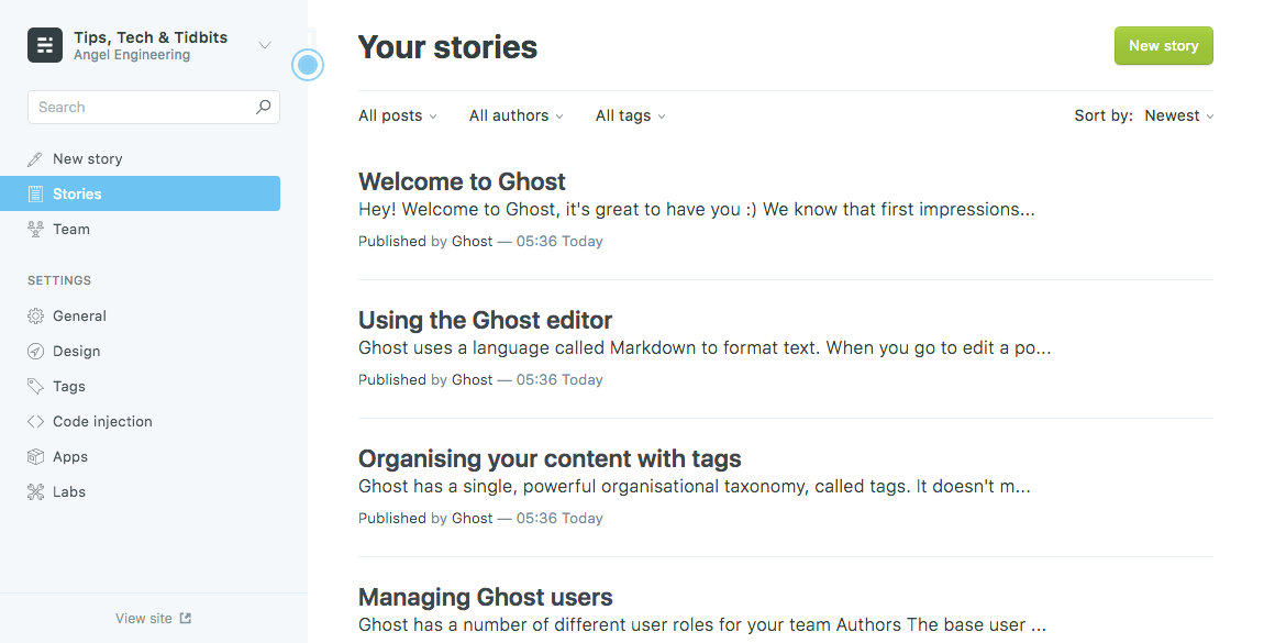 Ghost admin page