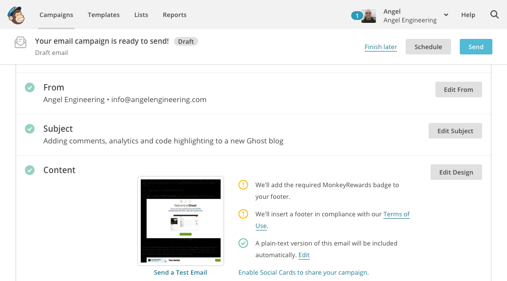 Testing and editing the newly created campaign in Mailchimp