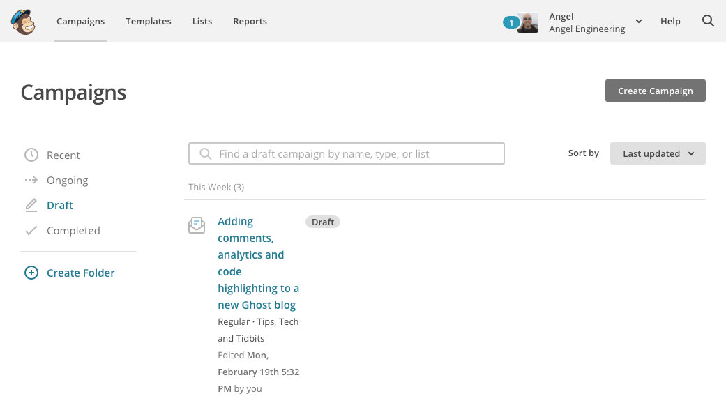 Checking the newly created campaign in Mailchimp