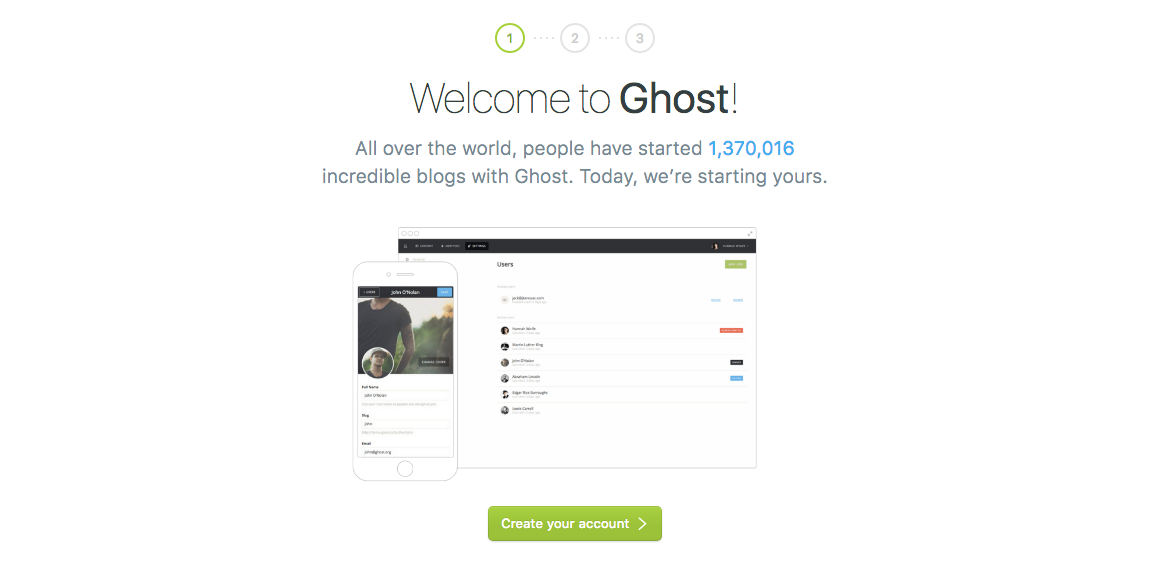 Ghost setup screen