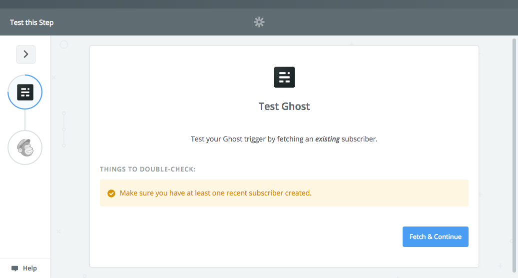 Testing Zapier connection with Ghost