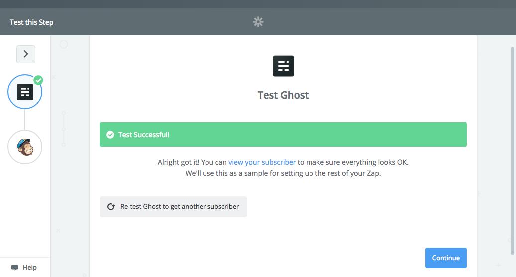 Zapier Ghost connection success