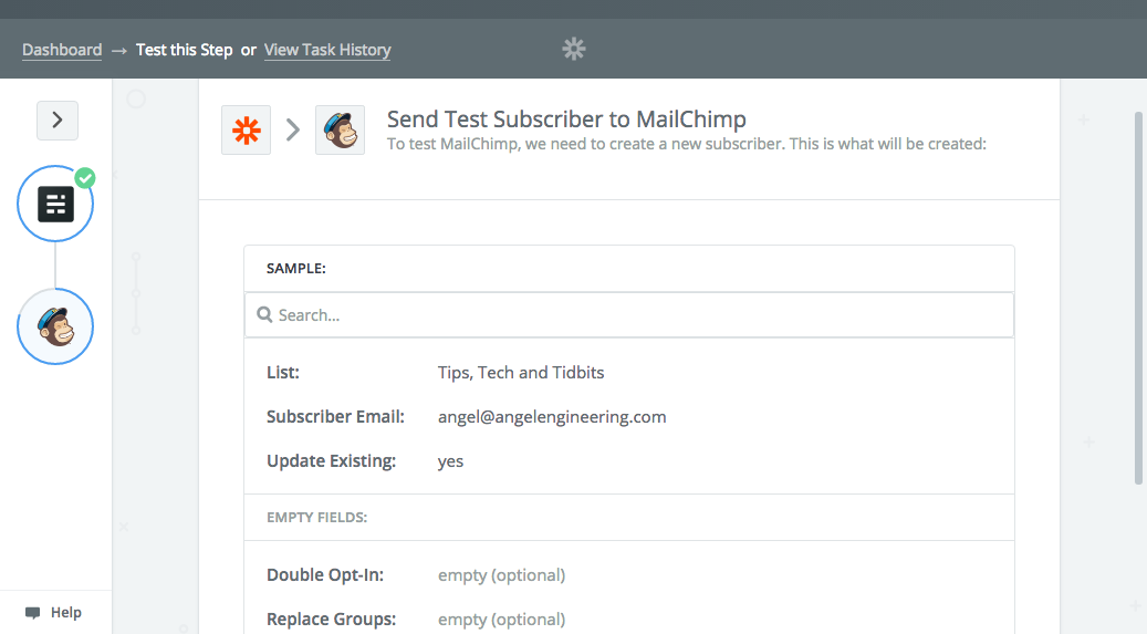 Sending the test subscriber to Mailchimp