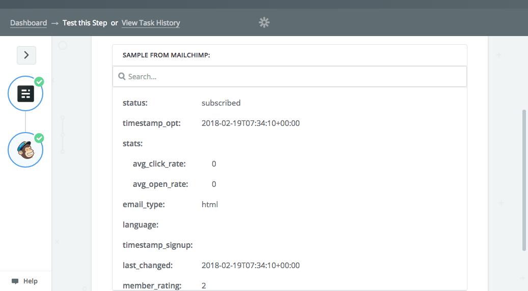 Mailchimp list addition result