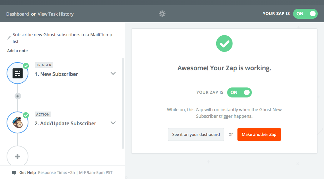 Subscription integration between Ghost and Mailchimp ready