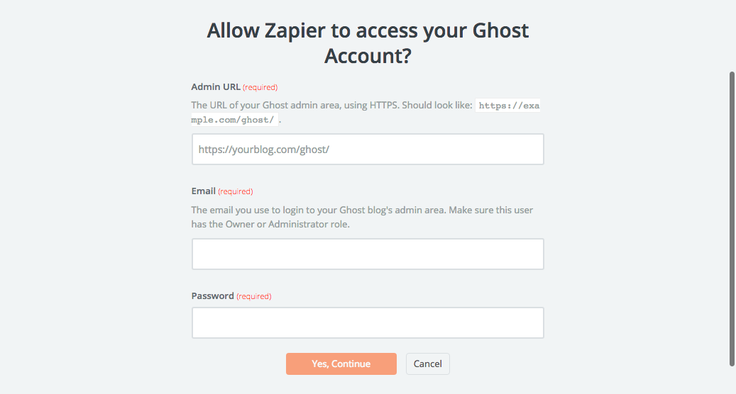 Ghost account connection for Zapier