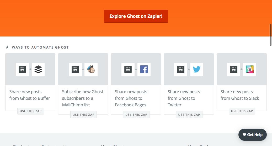 Zapier-Ghost integration options