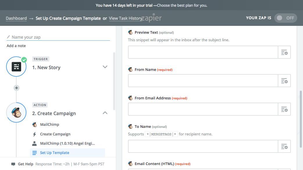 Mailchimp campaign options