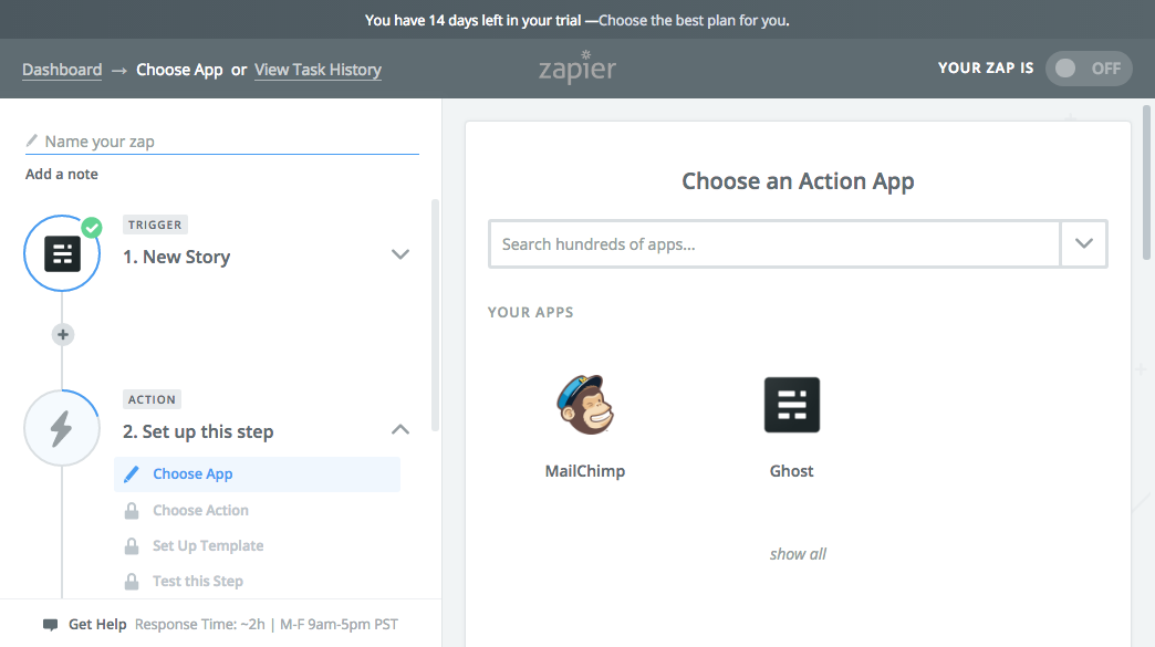 Selecting Mailchimp action for your zap