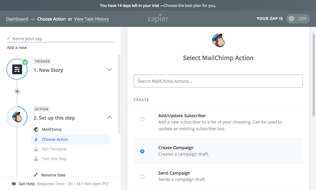 Mailchimp action to create a new email campaign