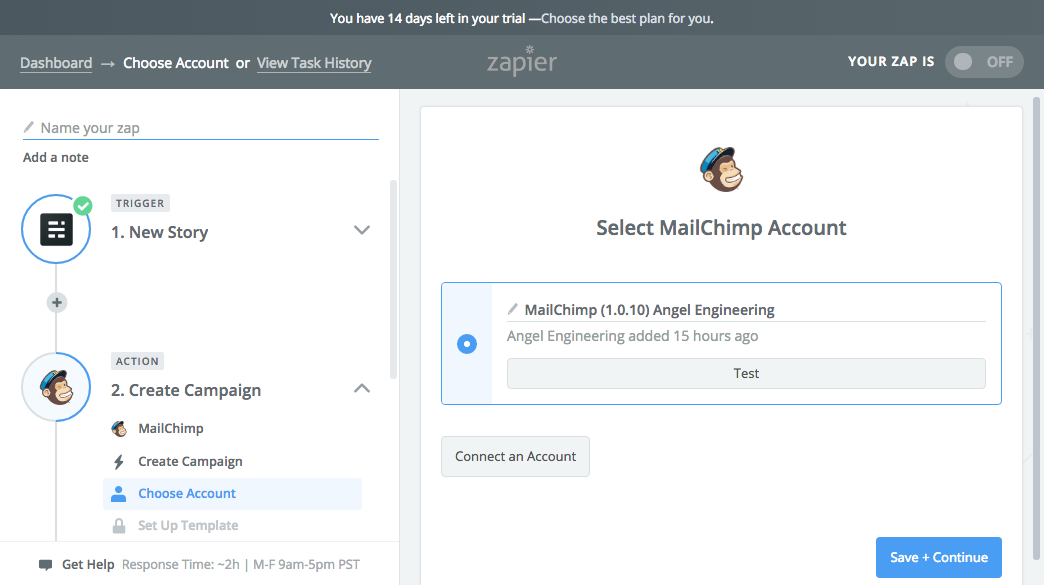Select the Mailchimp account for the zap
