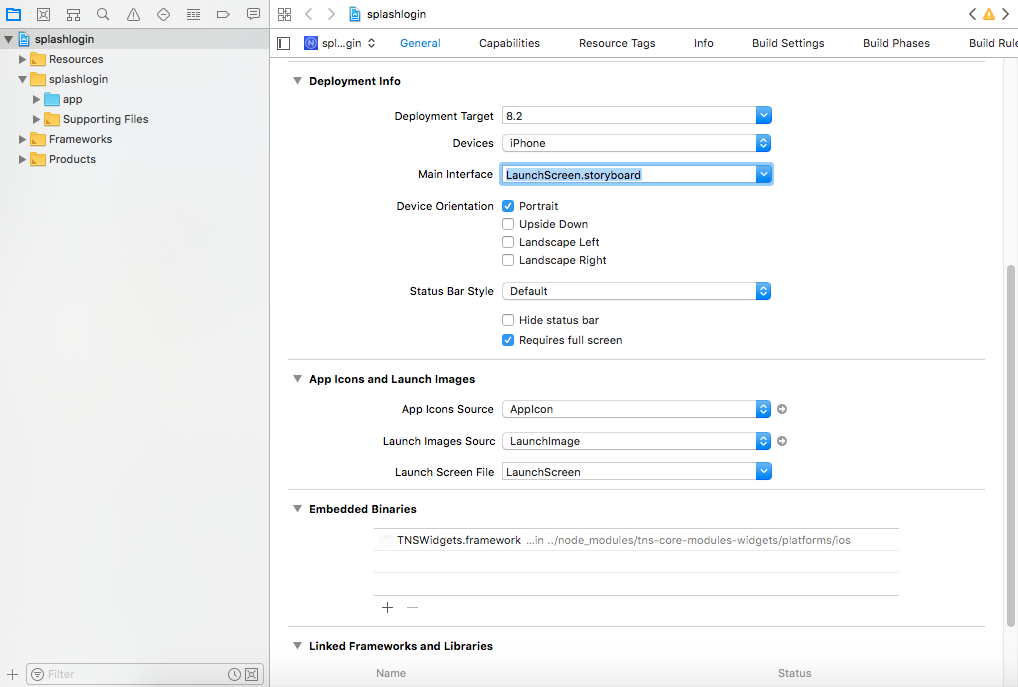 Xcode target configuration